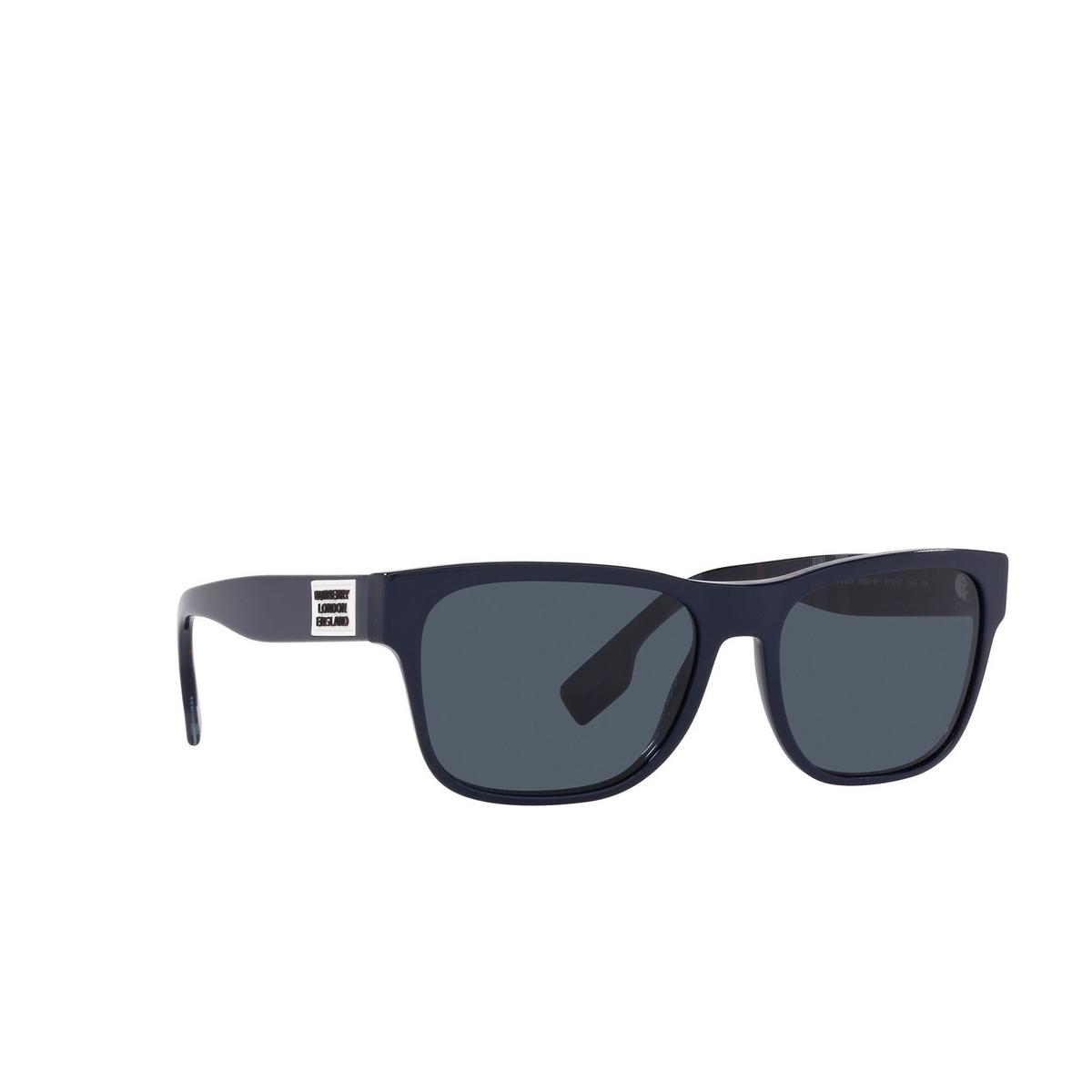 Burberry® Square Sunglasses: BE4309 color Matte Black 346487 - three-quarters view.