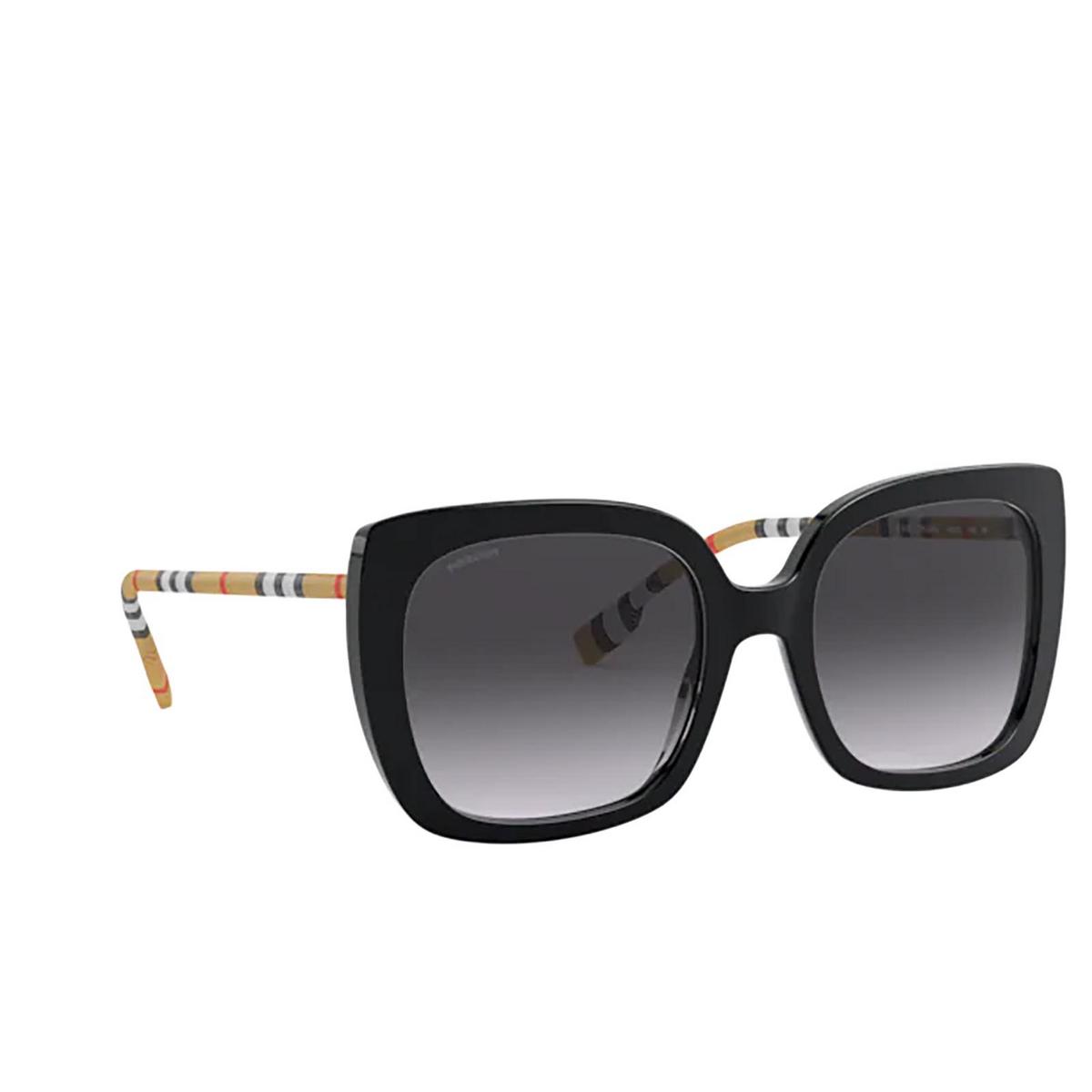 Burberry® Square Sunglasses: Caroll BE4323 color Black 38538G - three-quarters view.
