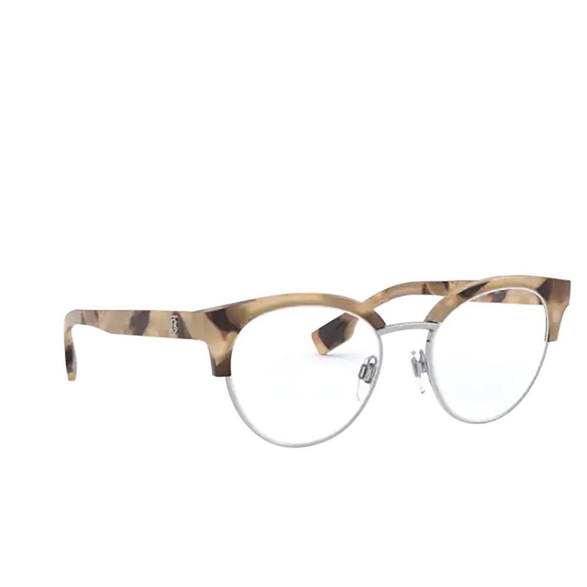 Burberry® Round Eyeglasses: Birch BE2316 color Spotted Horn / Silver 3501 - three-quarters view.