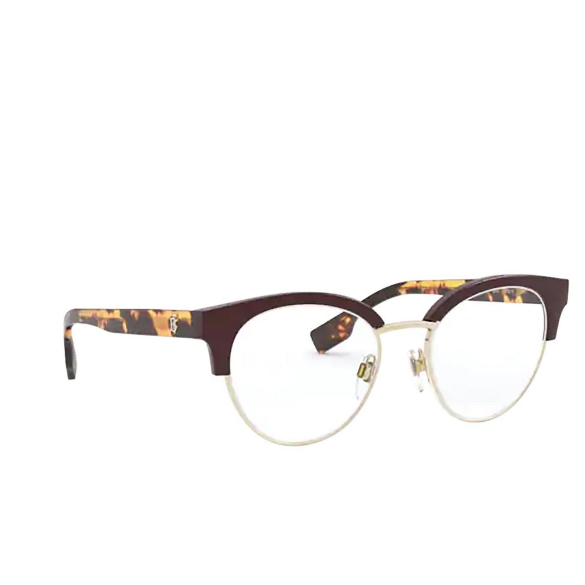 Burberry® Round Eyeglasses: Birch BE2316 color Bordeaux / Pale Gold 3869 - three-quarters view.
