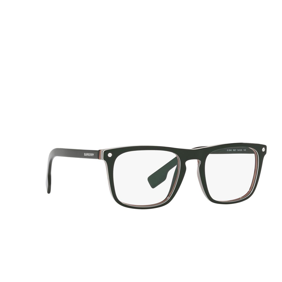 Burberry® Square Eyeglasses: Bolton BE2340 color Green 3927 - three-quarters view.