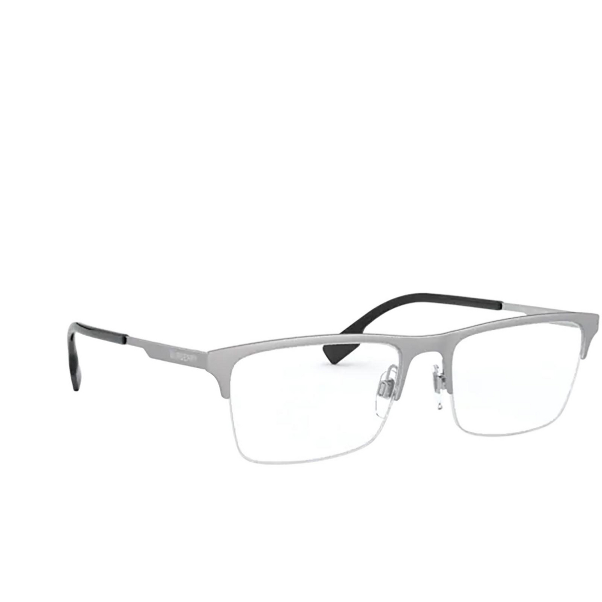 Burberry® Rectangle Eyeglasses: Brunel BE1344 color Silver 1166 - three-quarters view.
