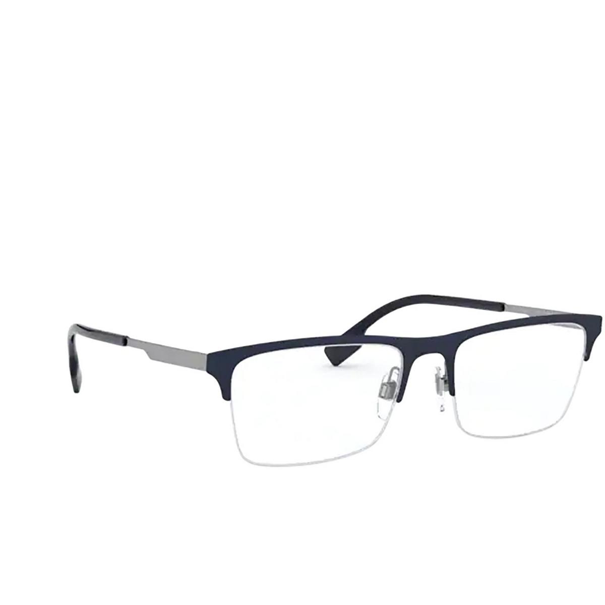 Burberry® Rectangle Eyeglasses: Brunel BE1344 color Matte Blue 1274 - three-quarters view.