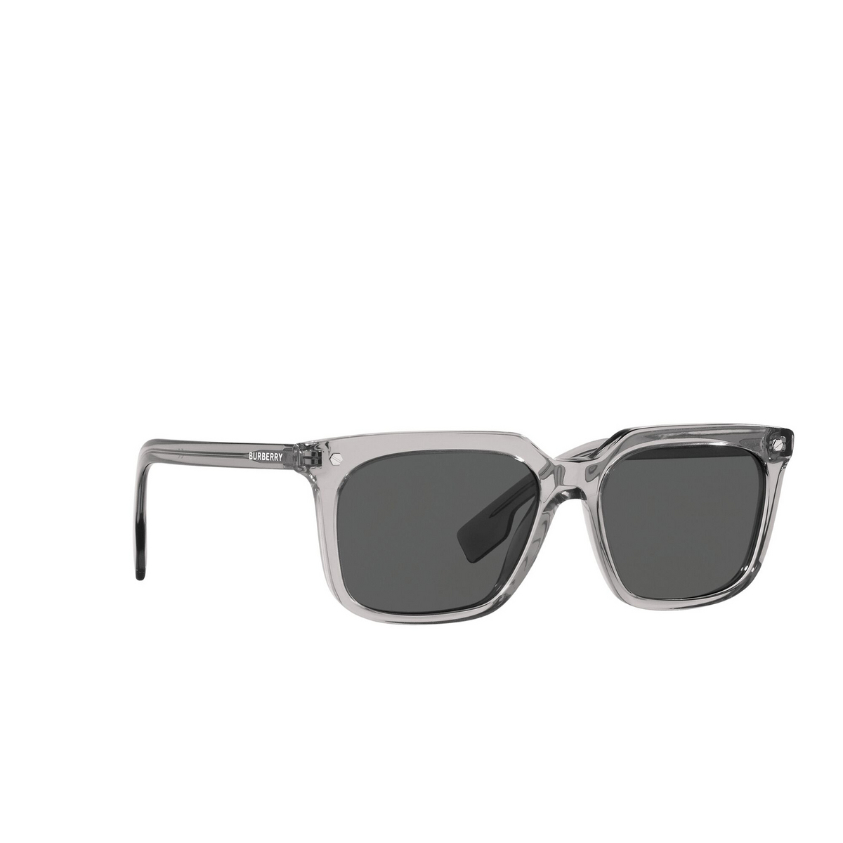 Burberry® Square Sunglasses: Carnaby BE4337 color Grey 302887 - three-quarters view.