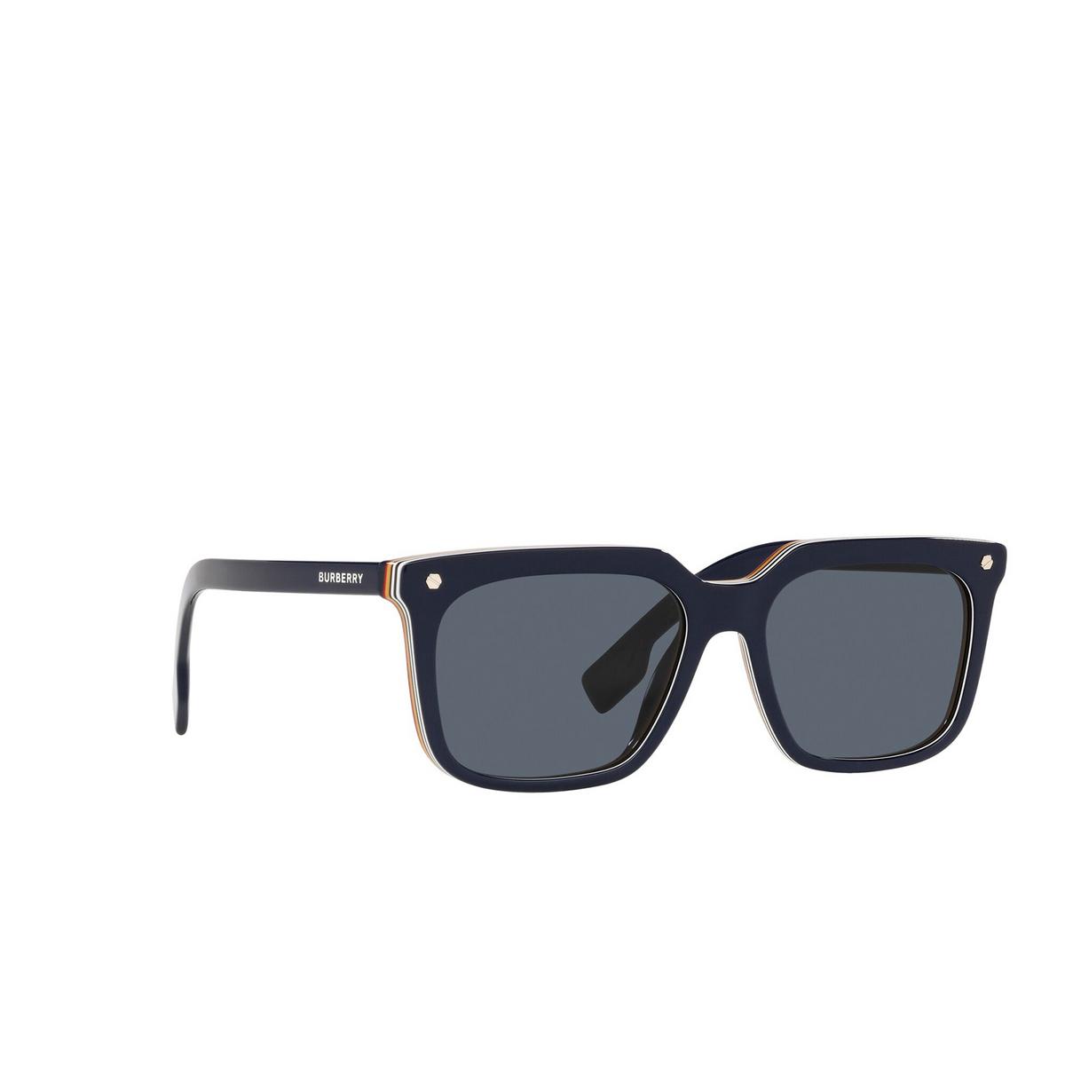 Burberry® Square Sunglasses: Carnaby BE4337 color Blue 379987 - three-quarters view.