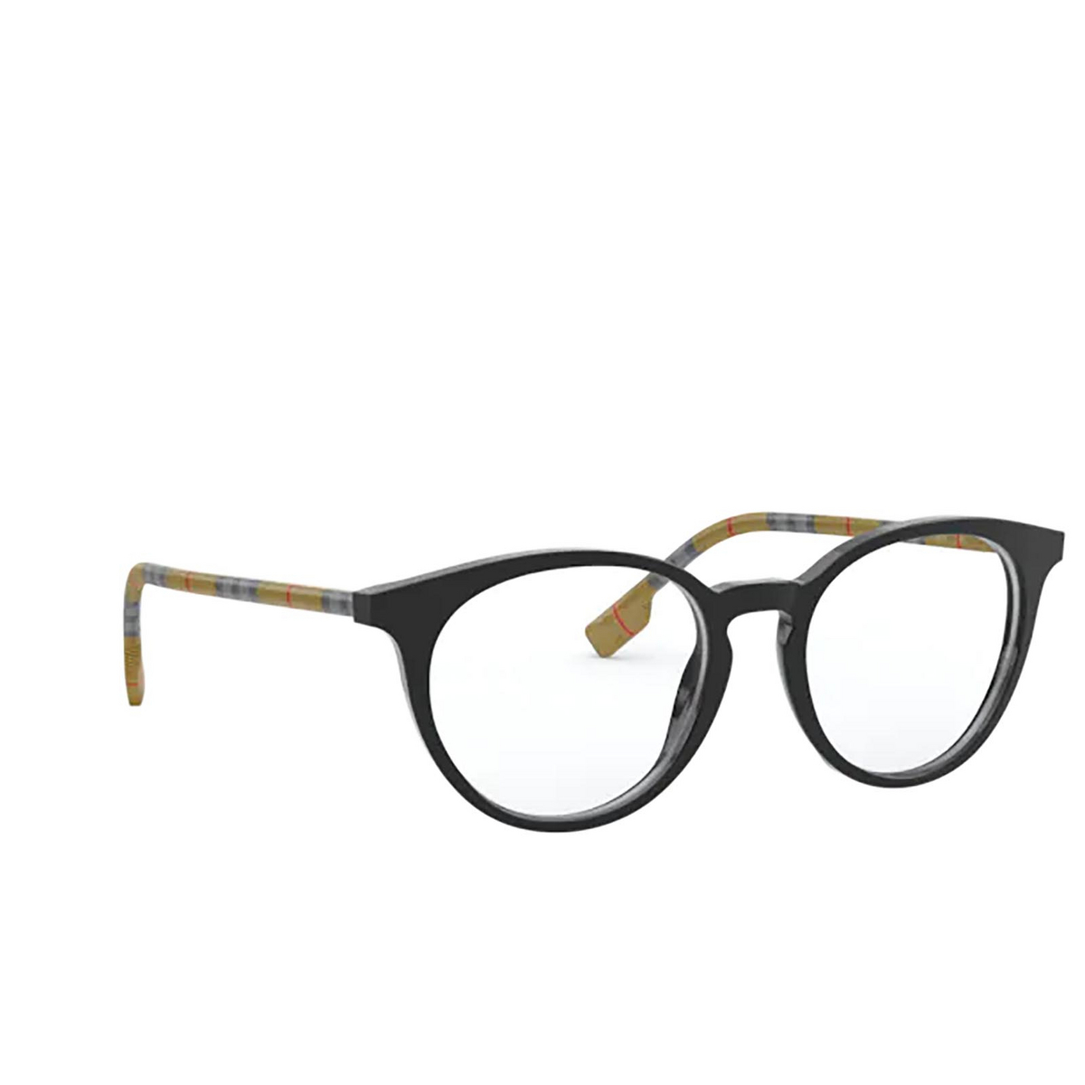 Burberry® Round Eyeglasses: Chalcot BE2318 color Black 3853 - three-quarters view.