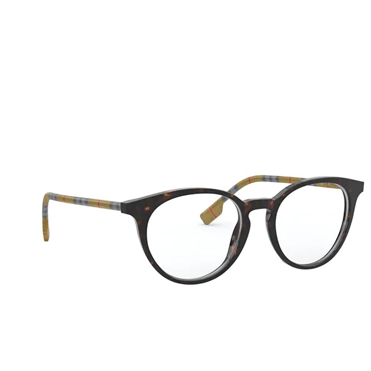 Burberry® Round Eyeglasses: Chalcot BE2318 color Dark Havana 3854 - three-quarters view.