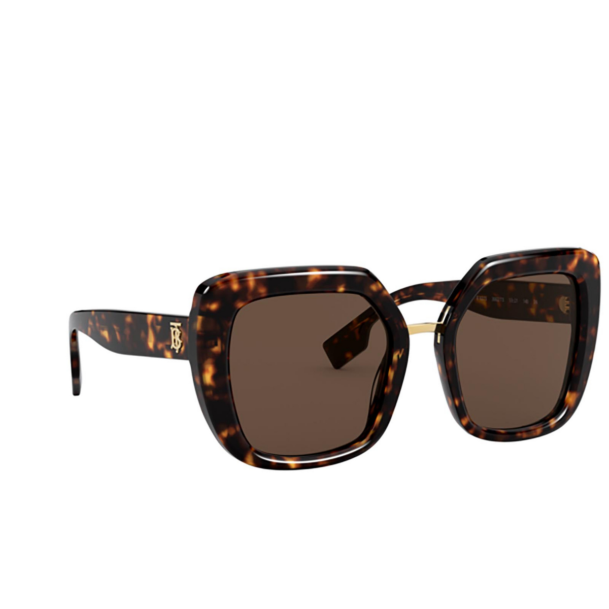 Burberry® Square Sunglasses: Charlotte BE4315 color Dark Havana 300273 - three-quarters view.