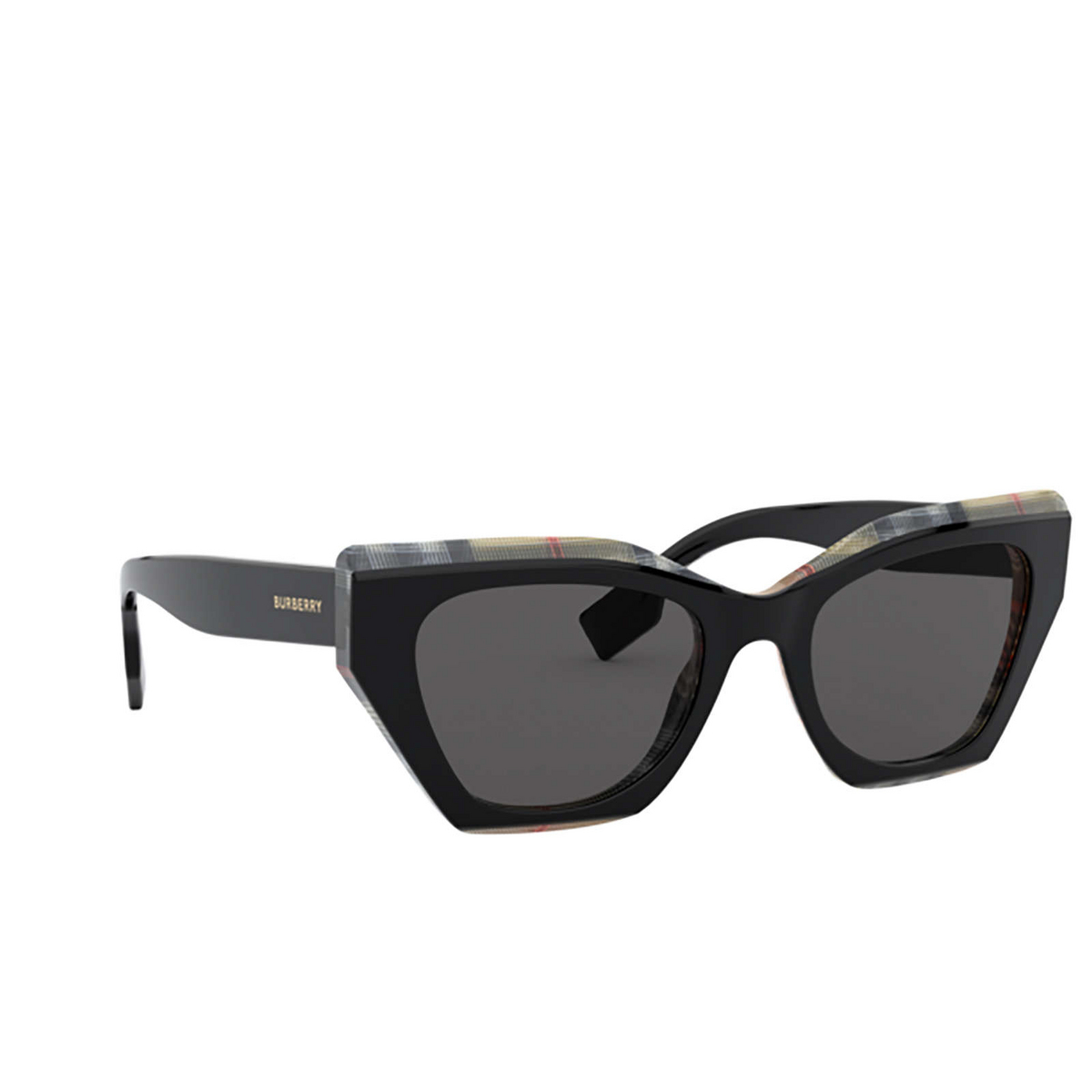 Burberry® Butterfly Sunglasses: Cressy BE4299 color Top Black On Vintage Check 382887 - three-quarters view.