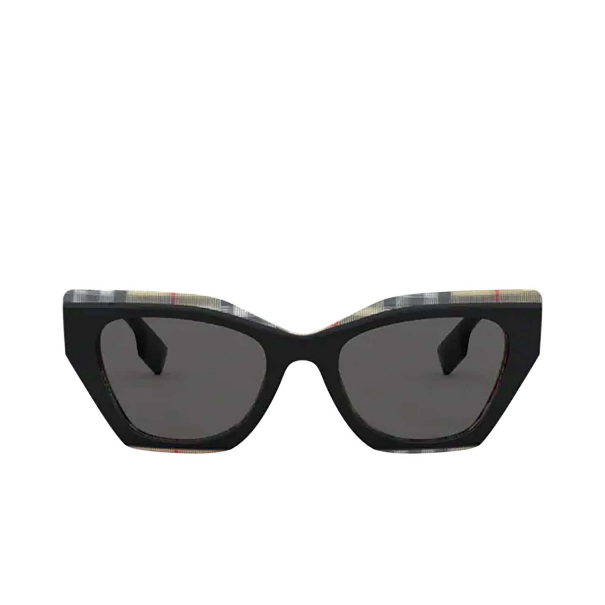 Burberry® Butterfly Sunglasses: Cressy BE4299 color Top Black On Vintage Check 382887 - front view.