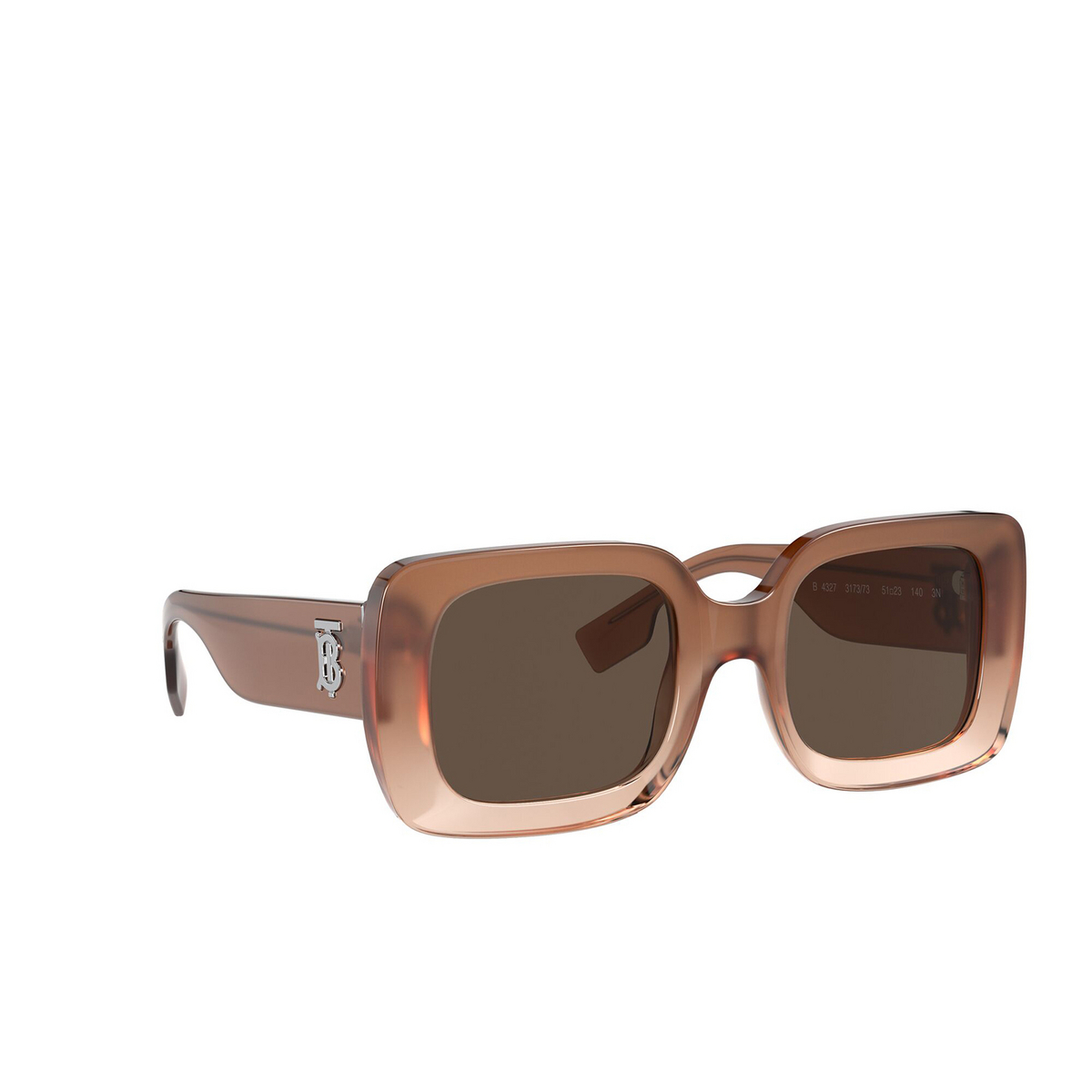 Burberry® Square Sunglasses: Delilah BE4327 color Brown 317373 - three-quarters view.