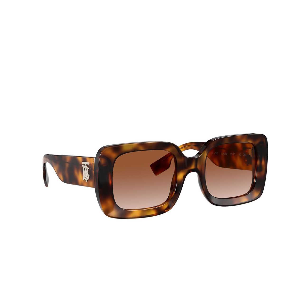 Burberry® Square Sunglasses: Delilah BE4327 color Light Havana 331613 - three-quarters view.