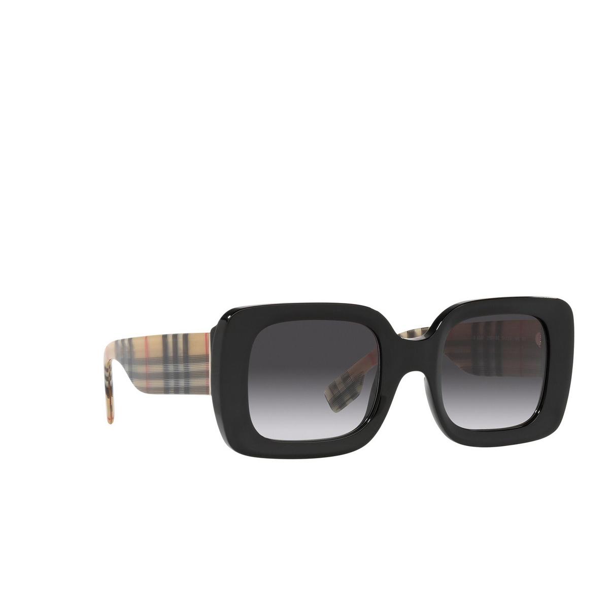 Burberry® Square Sunglasses: Delilah BE4327 color Black 37578G - three-quarters view.