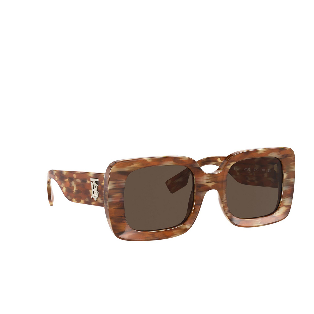 Burberry® Square Sunglasses: Delilah BE4327 color Brown 391573 - three-quarters view.