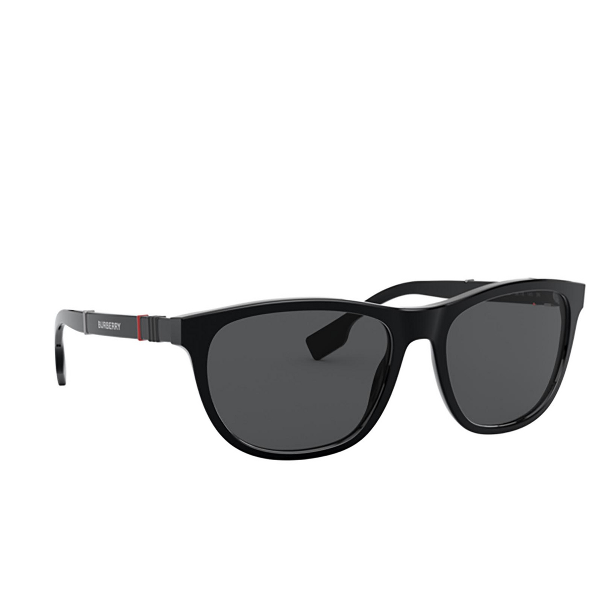 Burberry® Rectangle Sunglasses: Ellis BE4319 color Black 300187 - three-quarters view.