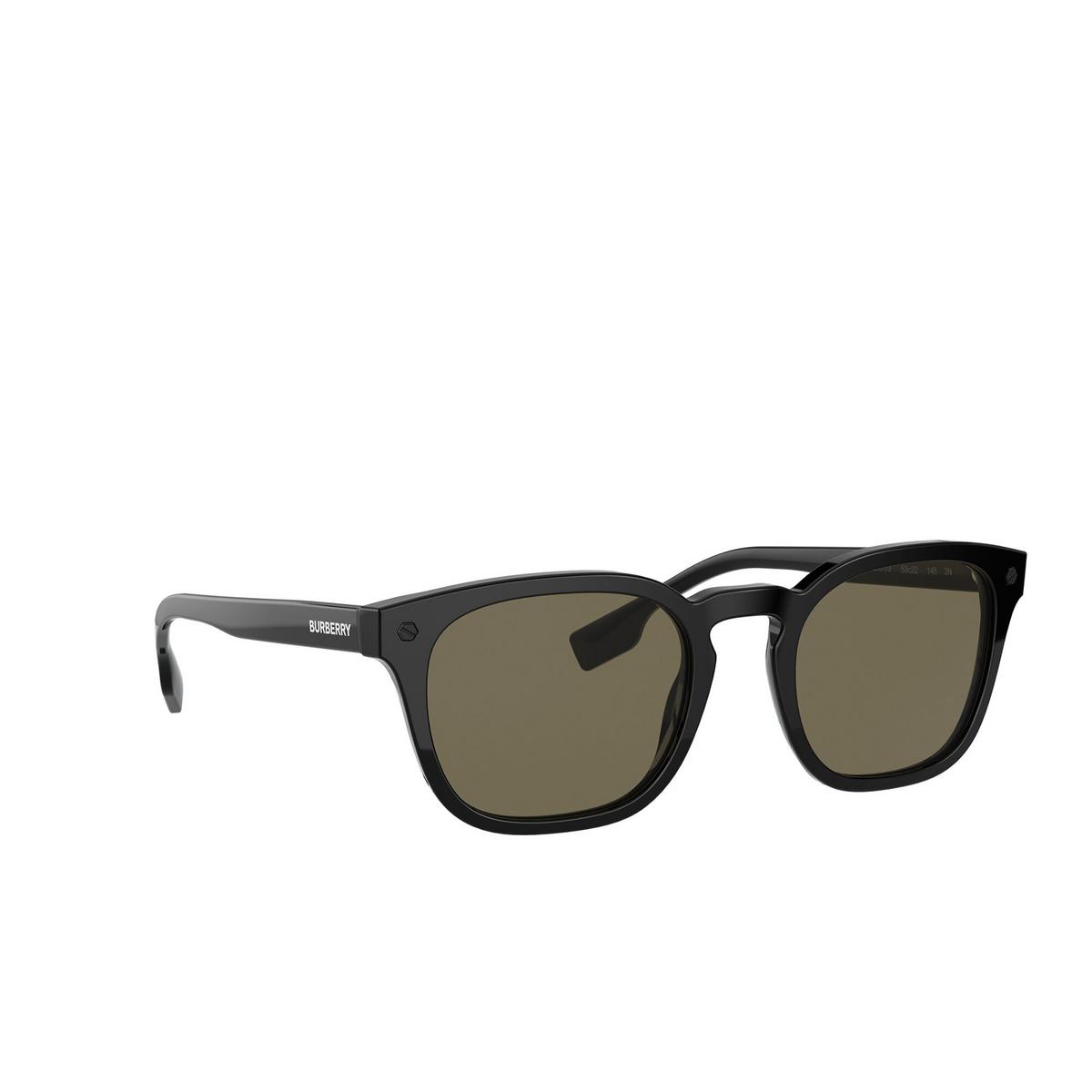 Burberry® Square Sunglasses: Ellis BE4329 color Black 3001/3 - three-quarters view.
