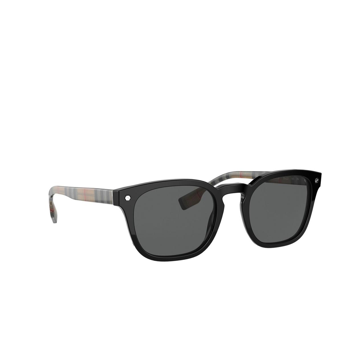 Burberry® Square Sunglasses: Ellis BE4329 color Black 375787 - three-quarters view.