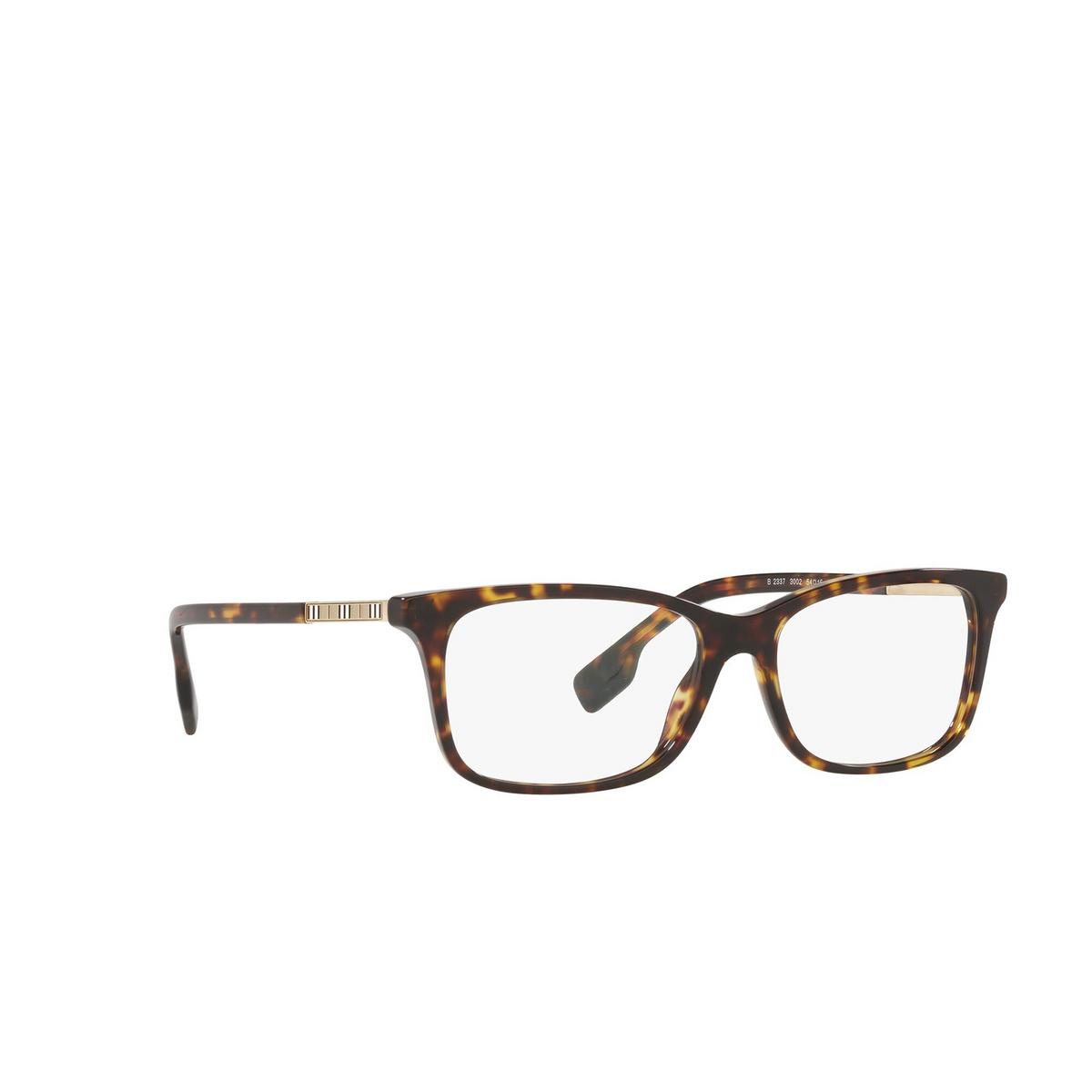 Burberry® Rectangle Eyeglasses: Fleet BE2337 color Dark Havana 3002 - three-quarters view.