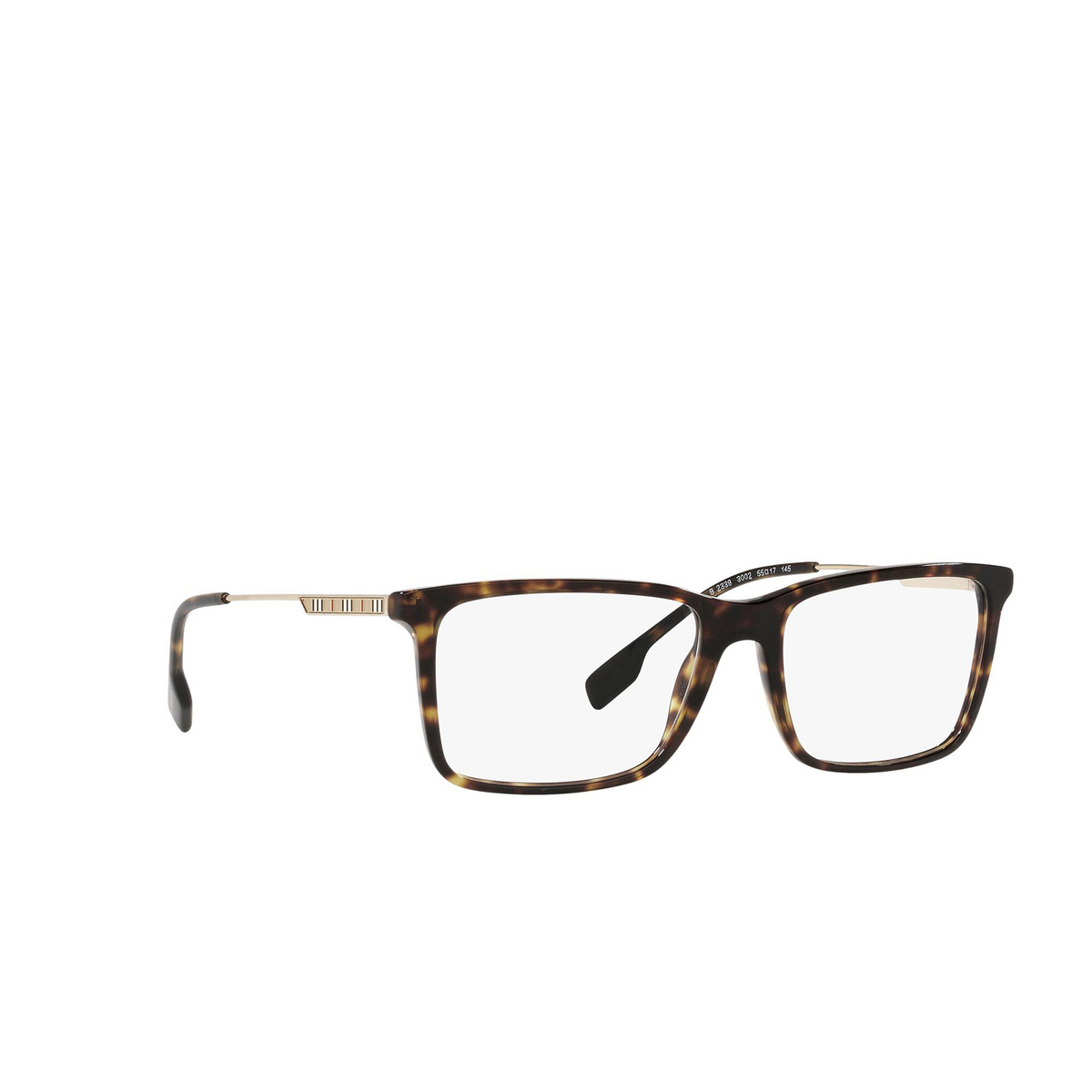 Burberry® Rectangle Eyeglasses: Harrington BE2339 color Dark Havana 3002 - three-quarters view.