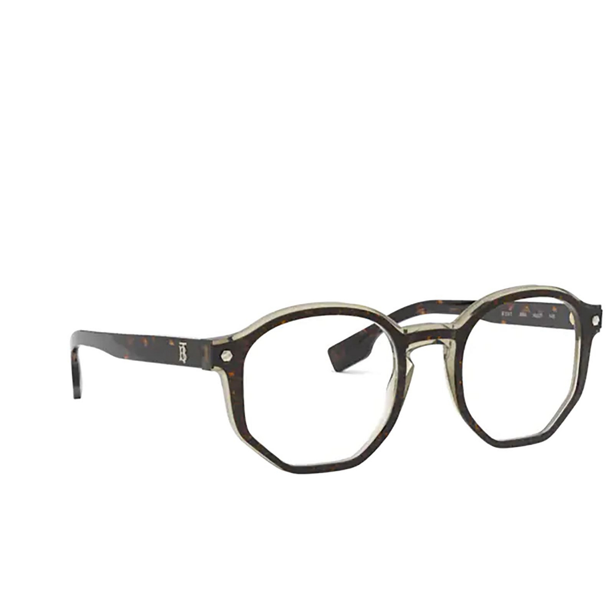 Burberry® Irregular Eyeglasses: Hogarth BE2317 color Top Havana On Grey Transparent 3660 - three-quarters view.