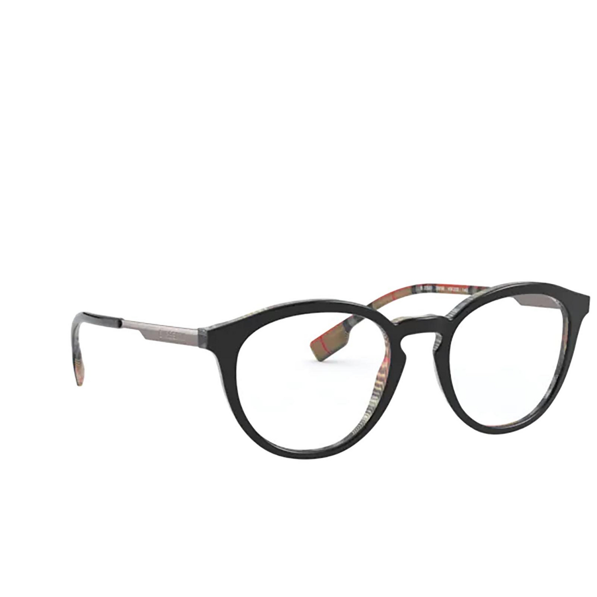 Burberry® Round Eyeglasses: Keats BE2321 color Top Black On Vintage Check 3838 - three-quarters view.