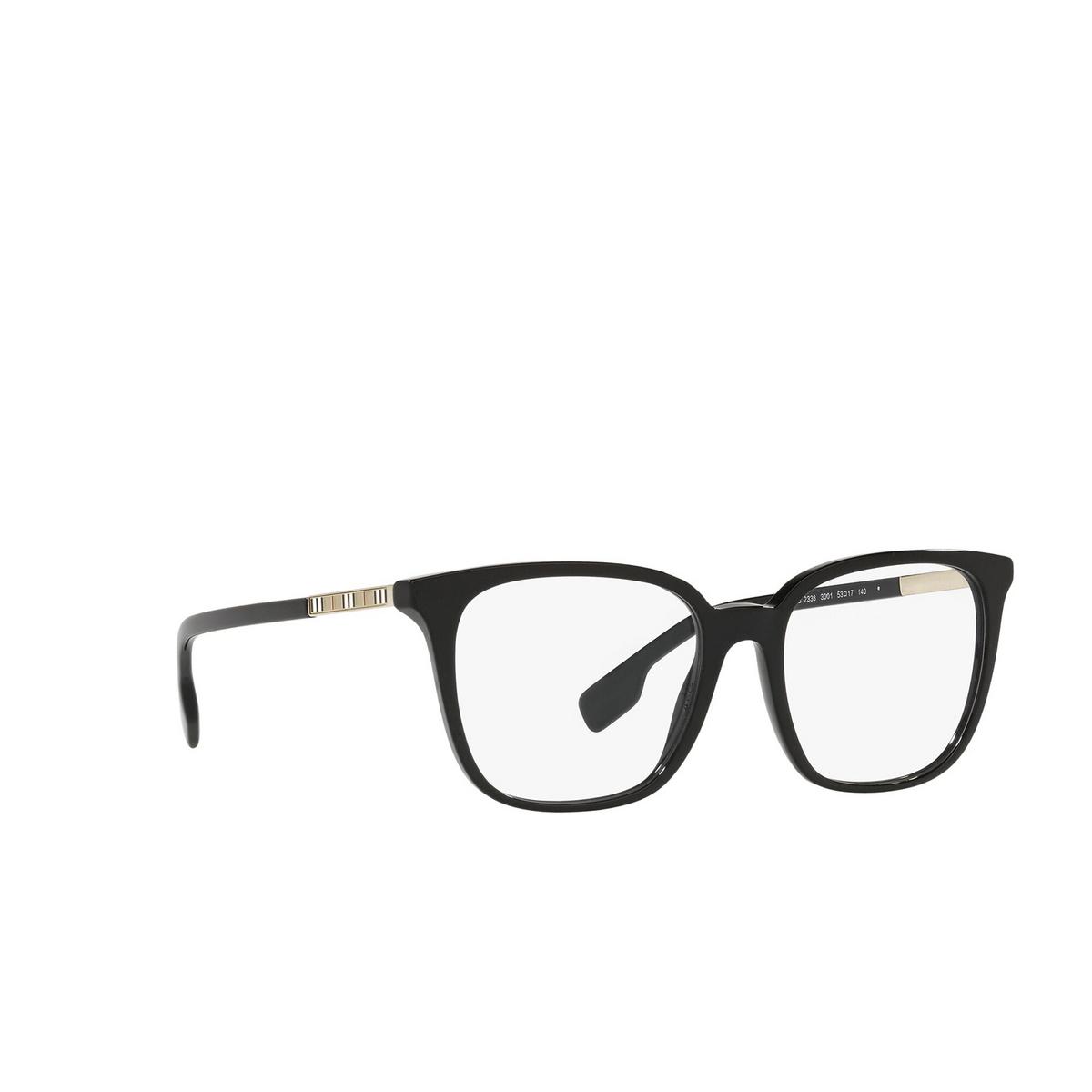 Burberry® Square Eyeglasses: Leah BE2338 color Black 3001 - three-quarters view.