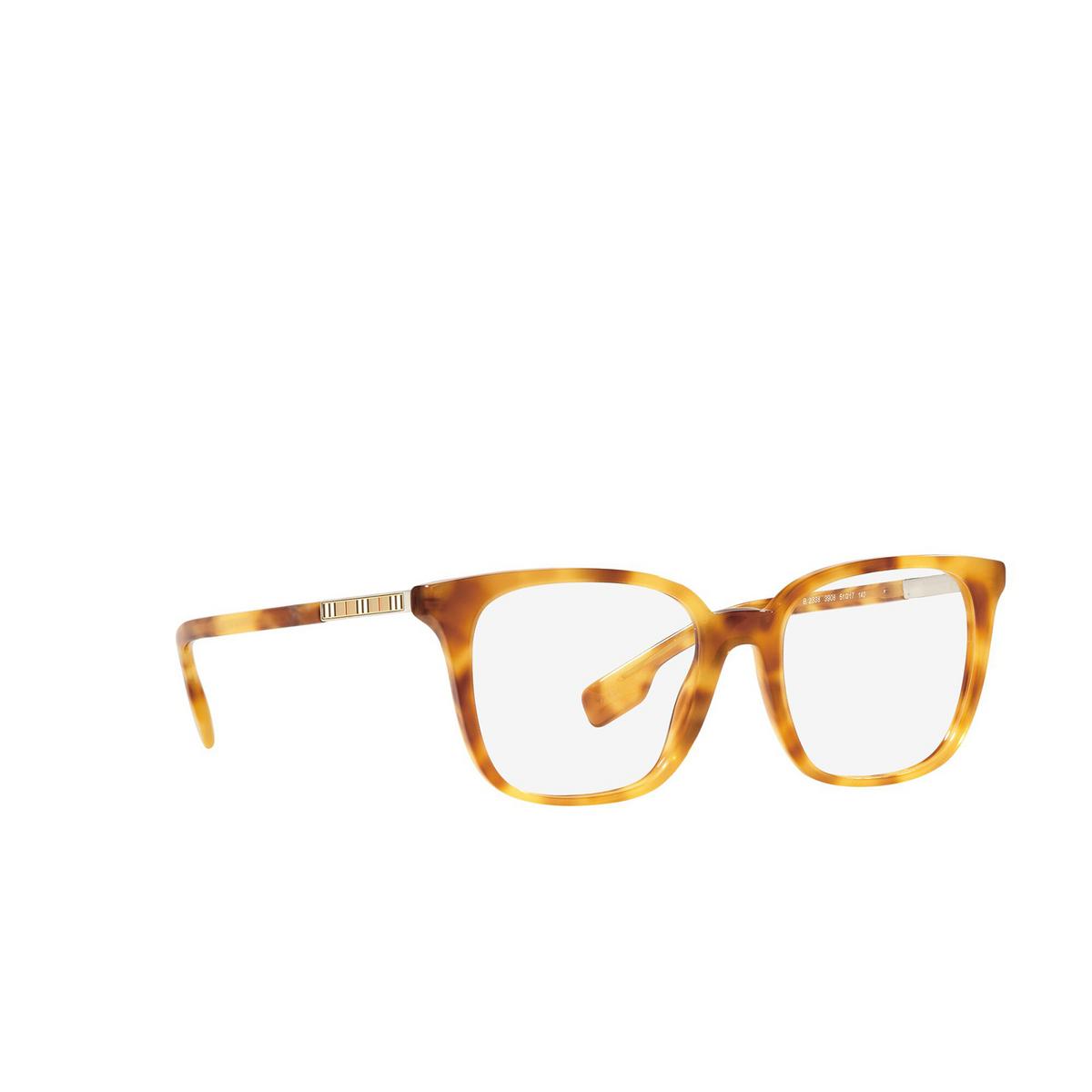 Burberry® Square Eyeglasses: Leah BE2338 color Light Havana 3908 - three-quarters view.