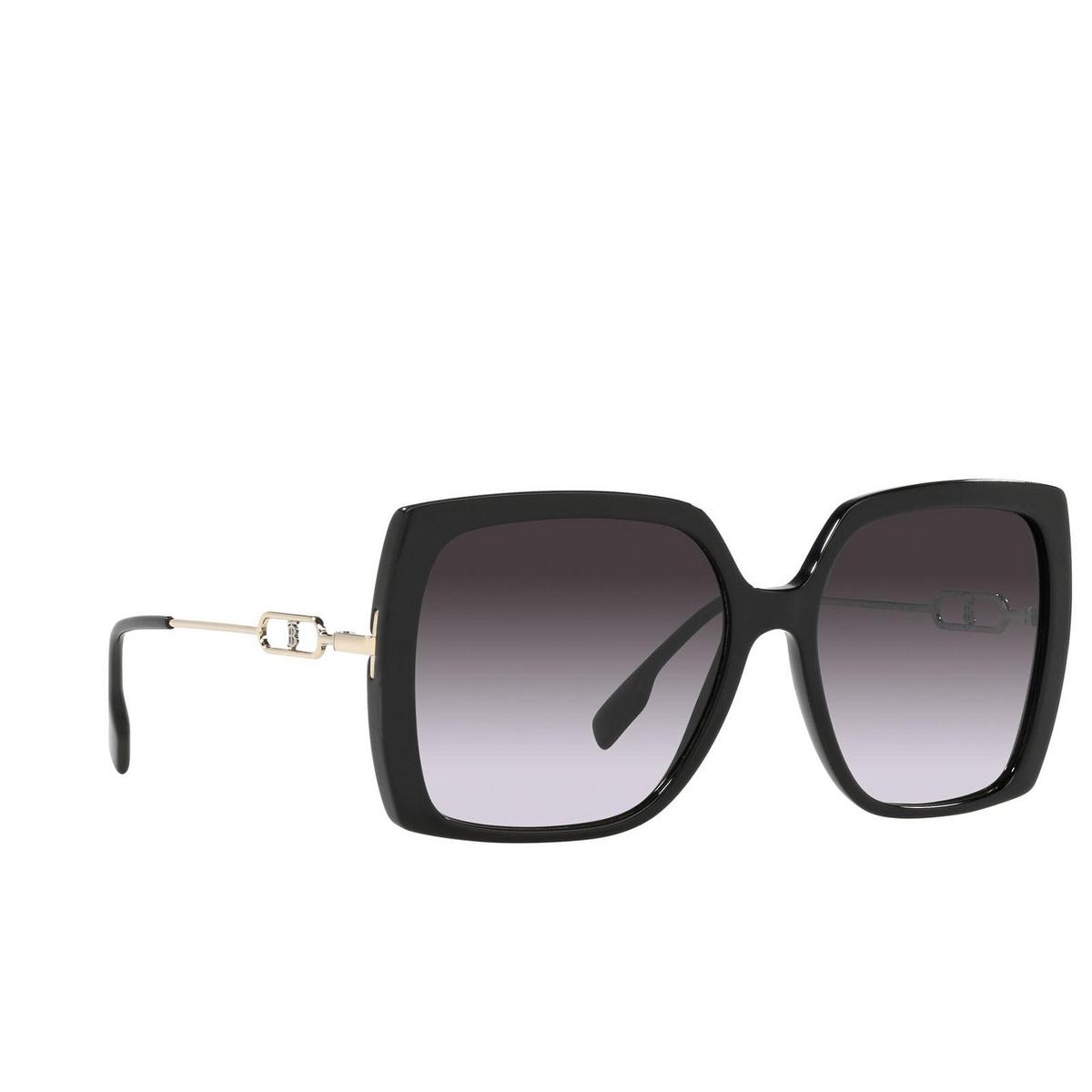 Burberry® Square Sunglasses: Luna BE4332 color Black 30018G - three-quarters view.