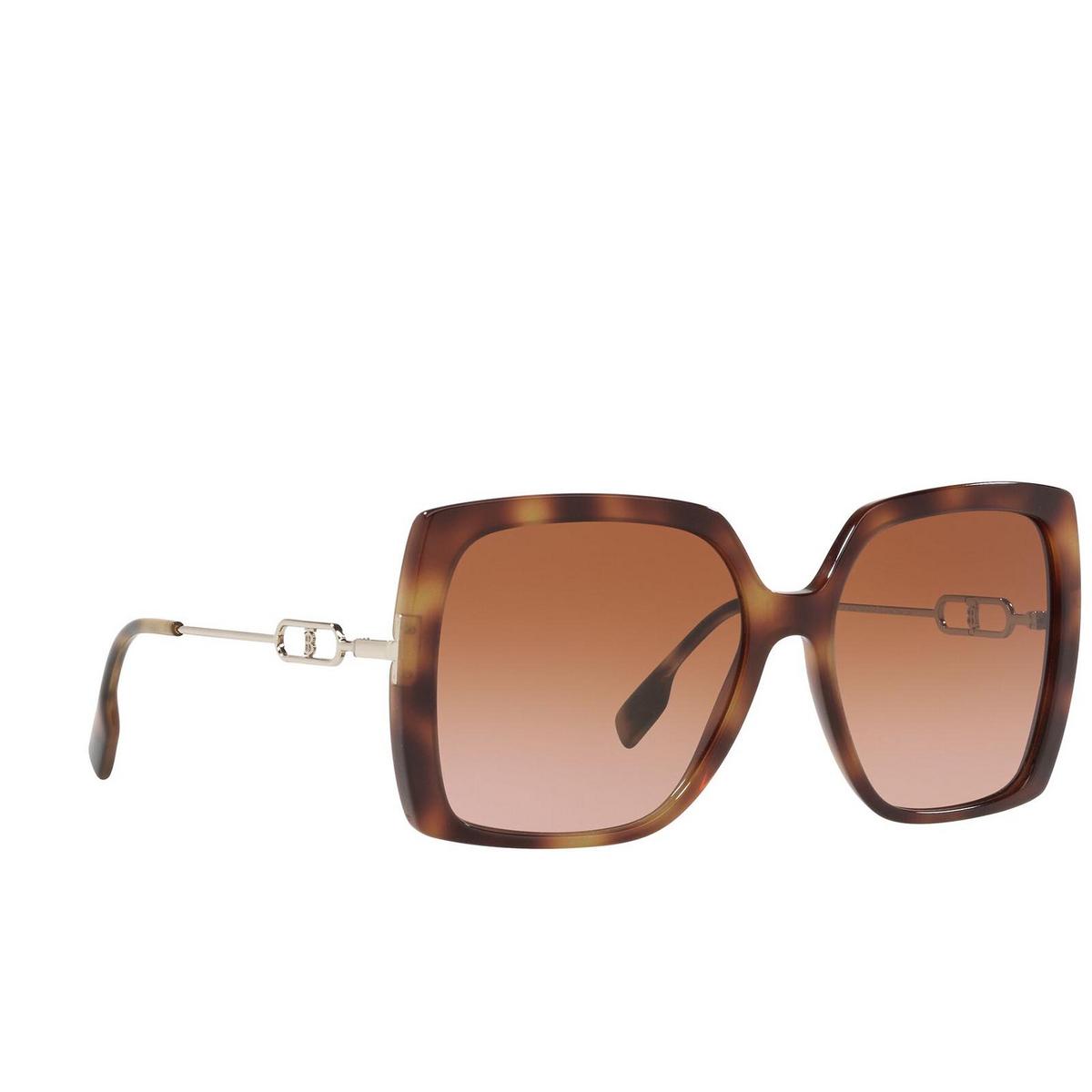 Burberry® Square Sunglasses: Luna BE4332 color Light Havana 331613 - three-quarters view.