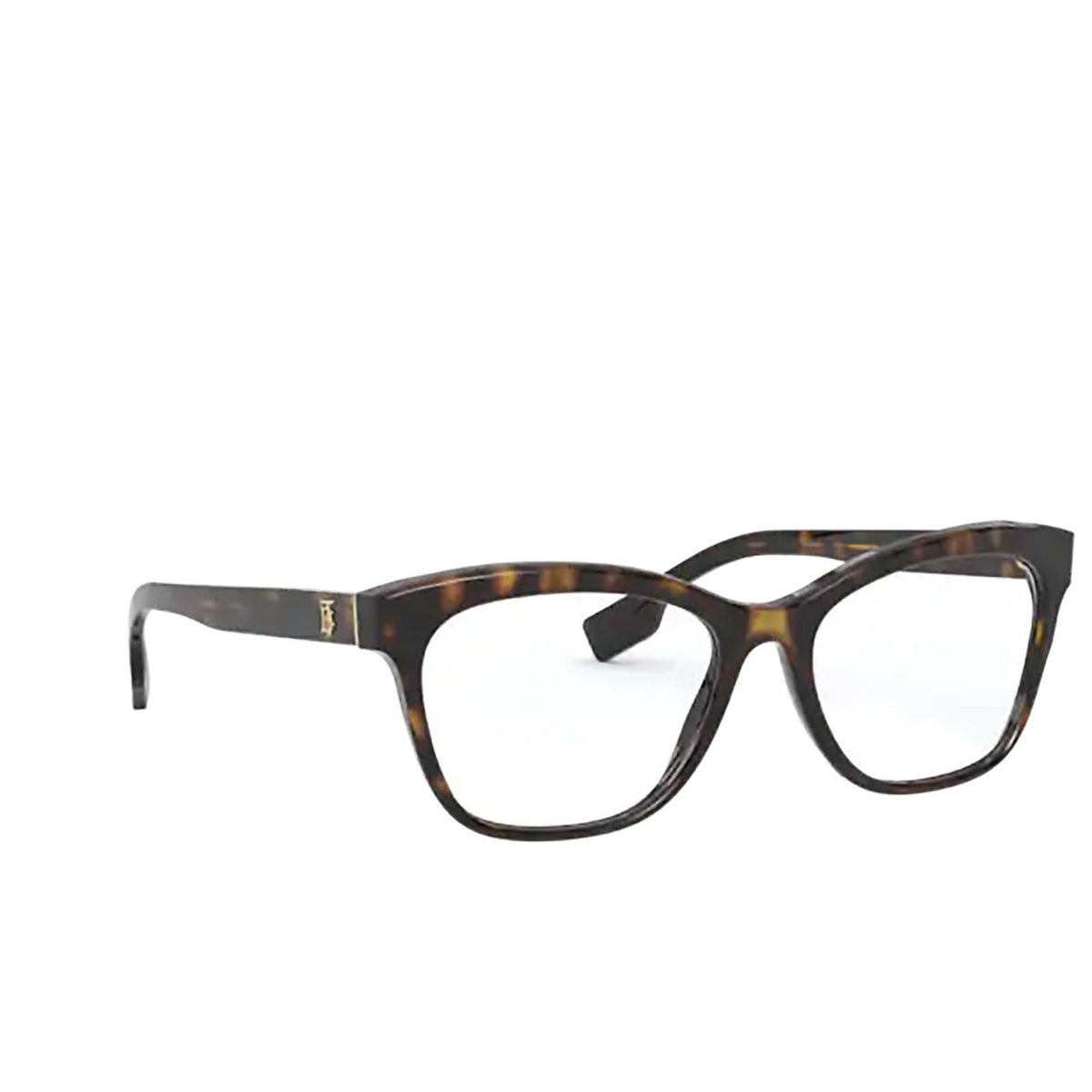 Burberry® Square Eyeglasses: Mildred BE2323 color Dark Havana 3002 - three-quarters view.