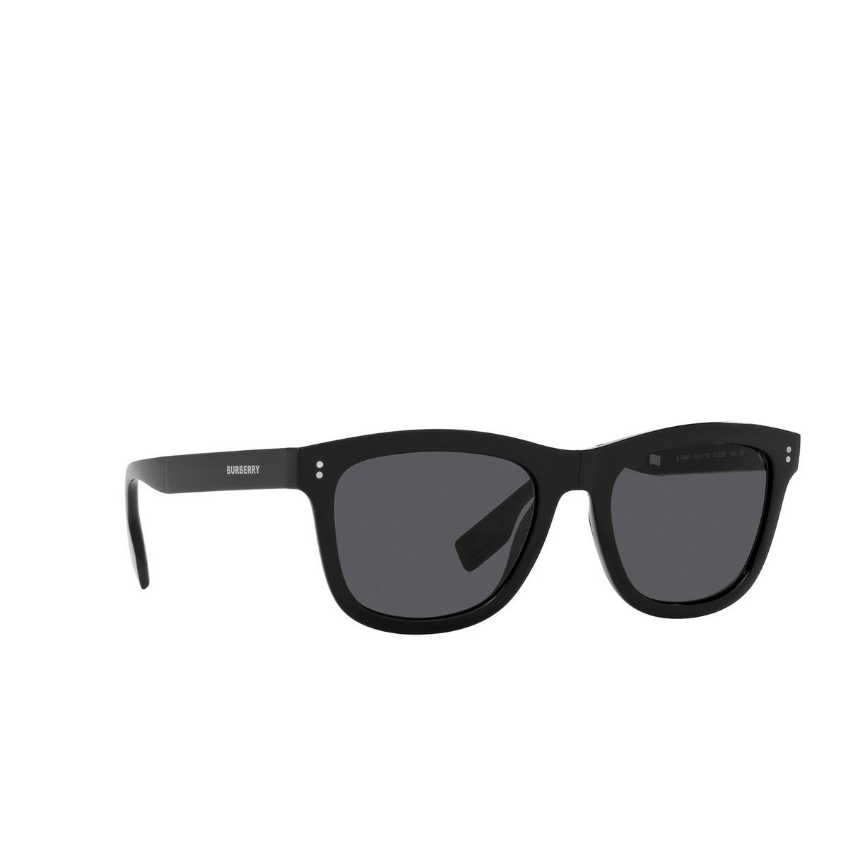 Burberry® Square Sunglasses: Miller BE4341 color Black 3001T8 - three-quarters view.