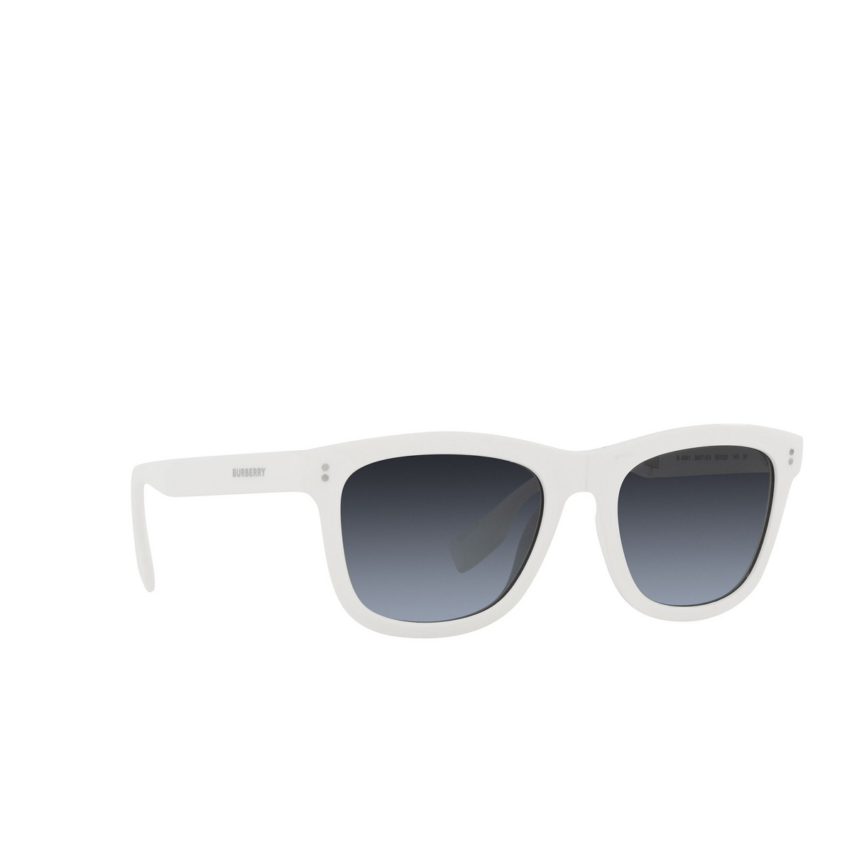 Burberry® Square Sunglasses: Miller BE4341 color White 3007K4 - three-quarters view.