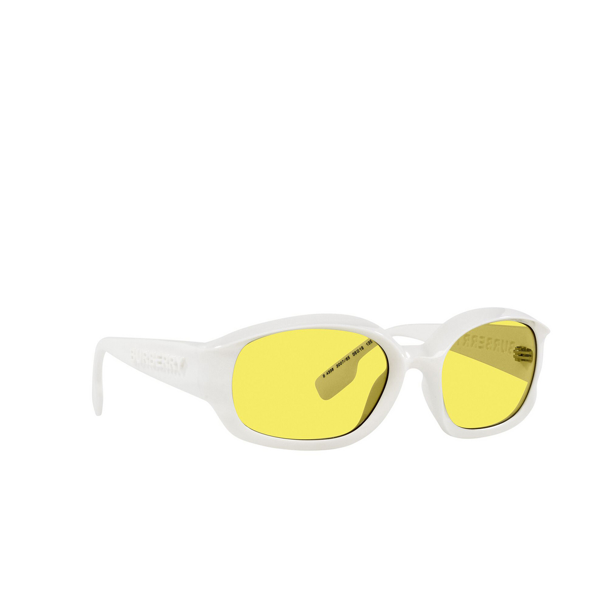 Burberry® Oval Sunglasses: Milton BE4338 color White 300785 - three-quarters view.