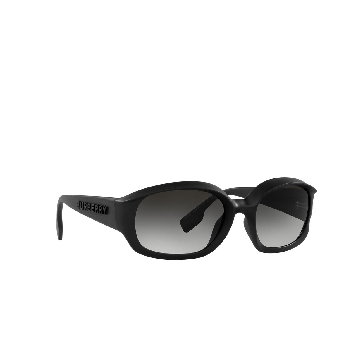 Burberry® Oval Sunglasses: Milton BE4338 color Black 34648G - three-quarters view.
