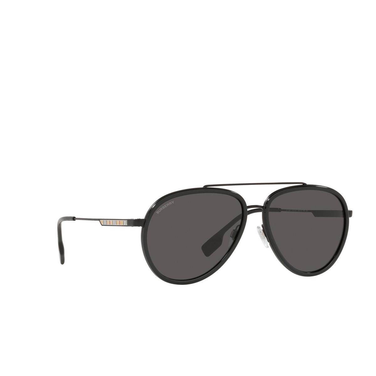 Burberry® Aviator Sunglasses: Oliver BE3125 color Black 100787 - three-quarters view.