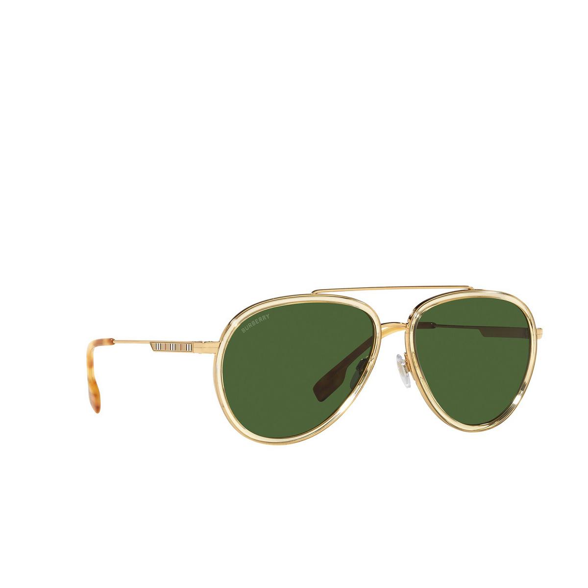 Burberry® Aviator Sunglasses: Oliver BE3125 color Gold 101771 - three-quarters view.