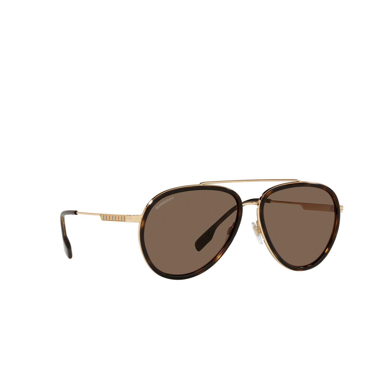 Burberry® Aviator Sunglasses: Oliver BE3125 color Gold 101773 - three-quarters view.