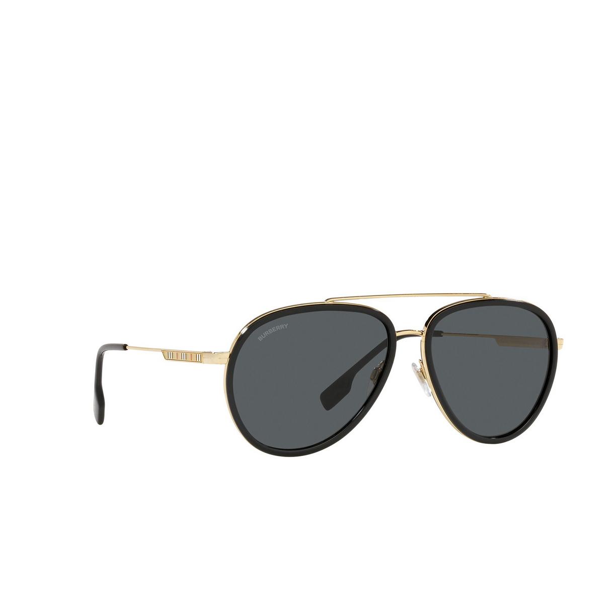 Burberry® Aviator Sunglasses: Oliver BE3125 color Gold 101787 - three-quarters view.