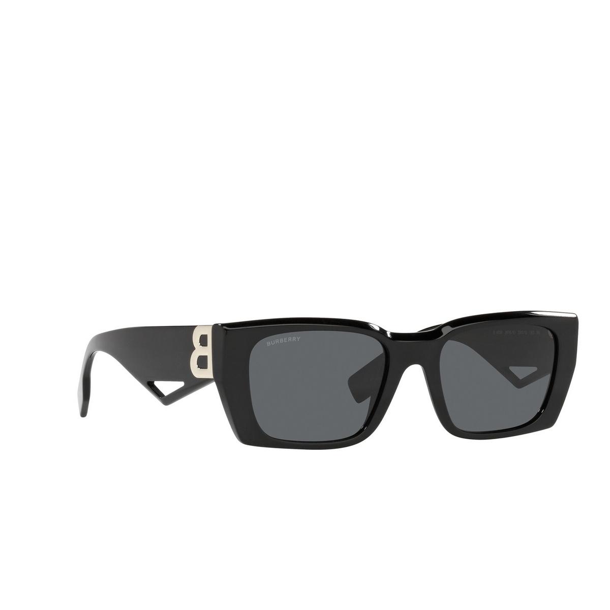 Burberry® Rectangle Sunglasses: Poppy BE4336 color Black 387887 - three-quarters view.