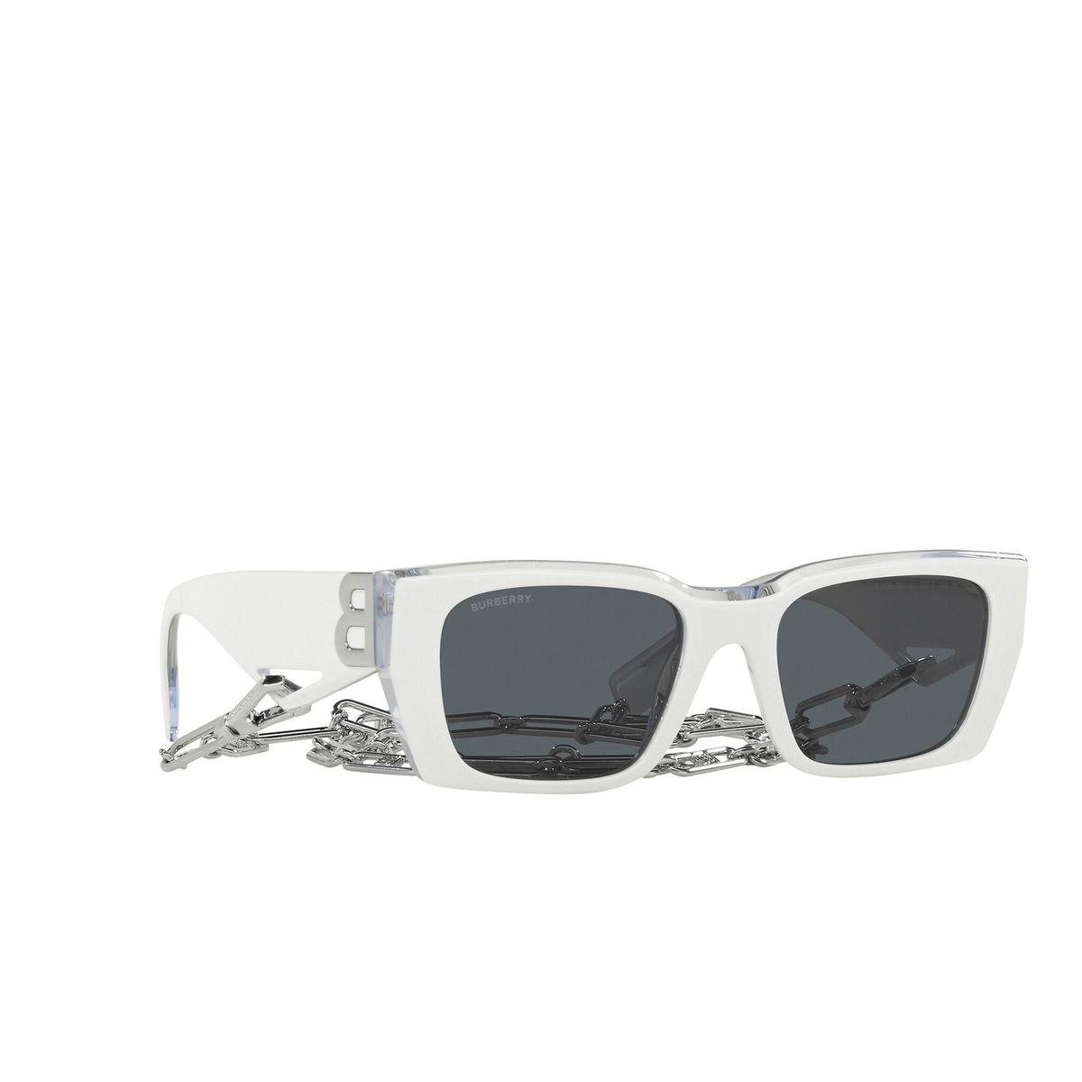 Burberry® Rectangle Sunglasses: Poppy BE4336 color Top White On Transparent 392187 - three-quarters view.