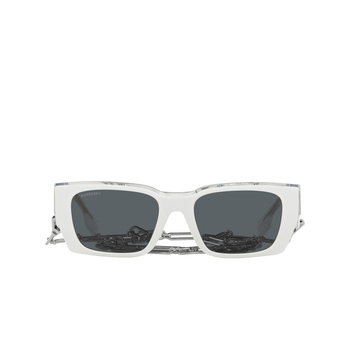 Burberry® Rectangle Sunglasses: Poppy BE4336 color Top White On Transparent 392187 - front view.