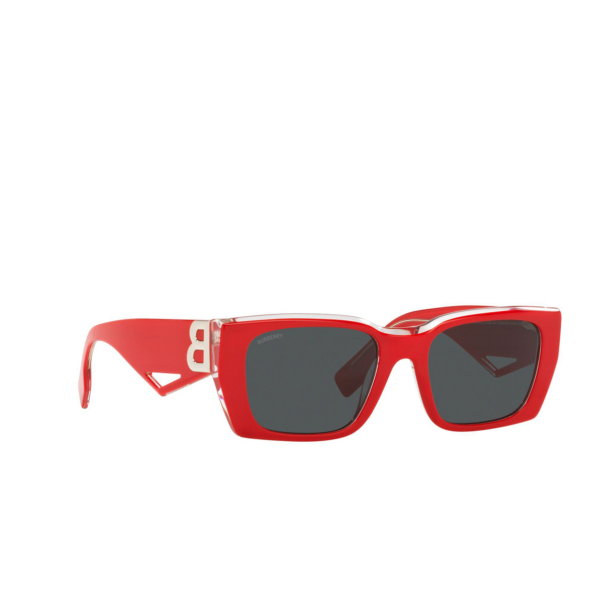 Burberry® Rectangle Sunglasses: Poppy BE4336 color Top Red On Transparent 392287 - three-quarters view.