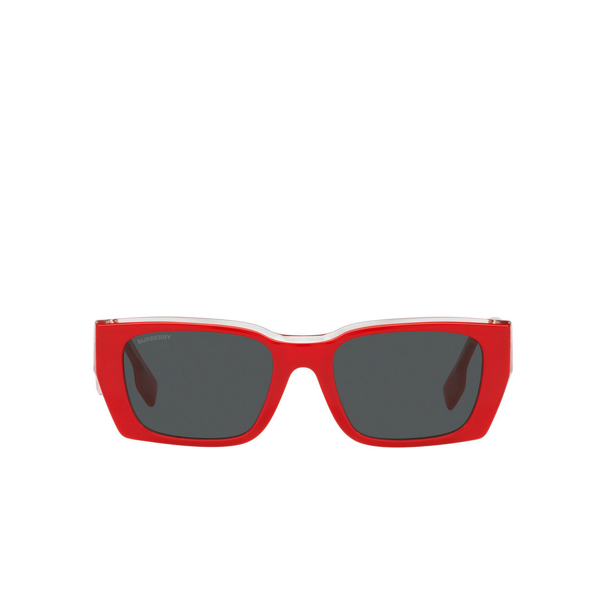 Burberry® Rectangle Sunglasses: Poppy BE4336 color Top Red On Transparent 392287 - front view.