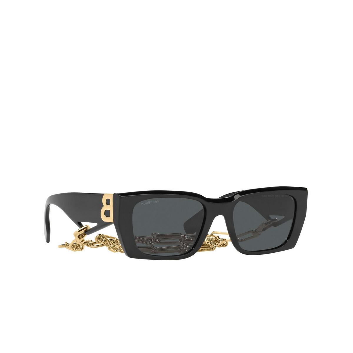 Burberry® Rectangle Sunglasses: Poppy BE4336 color Black 392887 - three-quarters view.
