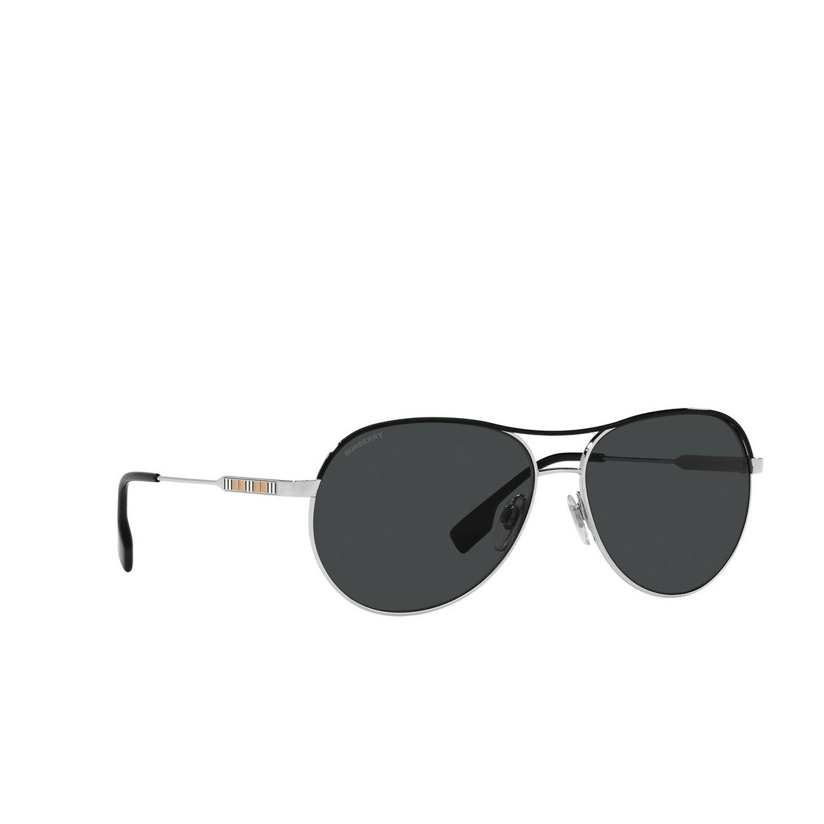 Burberry® Aviator Sunglasses: Tara BE3122 color Silver / Black 100587 - three-quarters view.