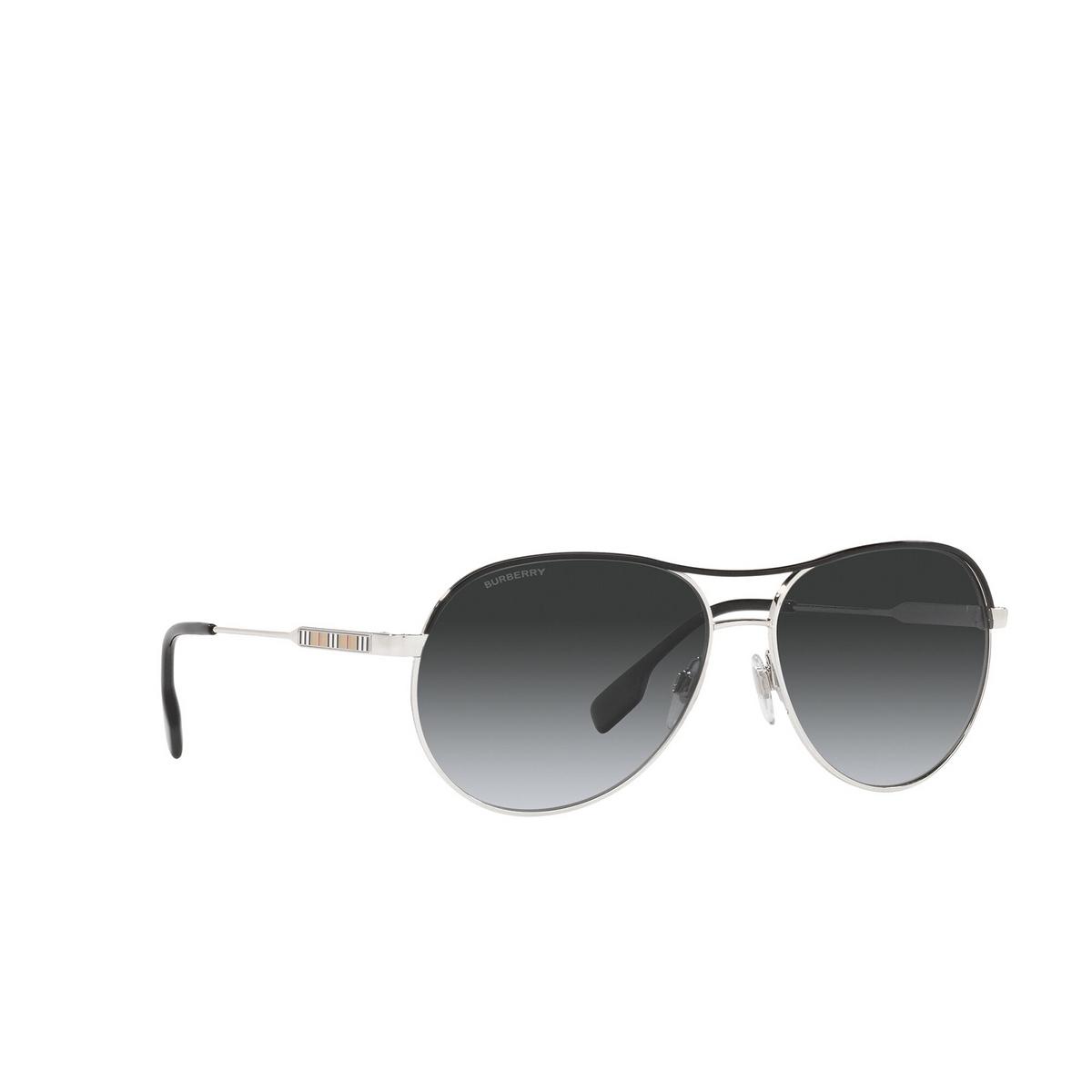 Burberry® Aviator Sunglasses: Tara BE3122 color Silver / Black 1005T3 - three-quarters view.