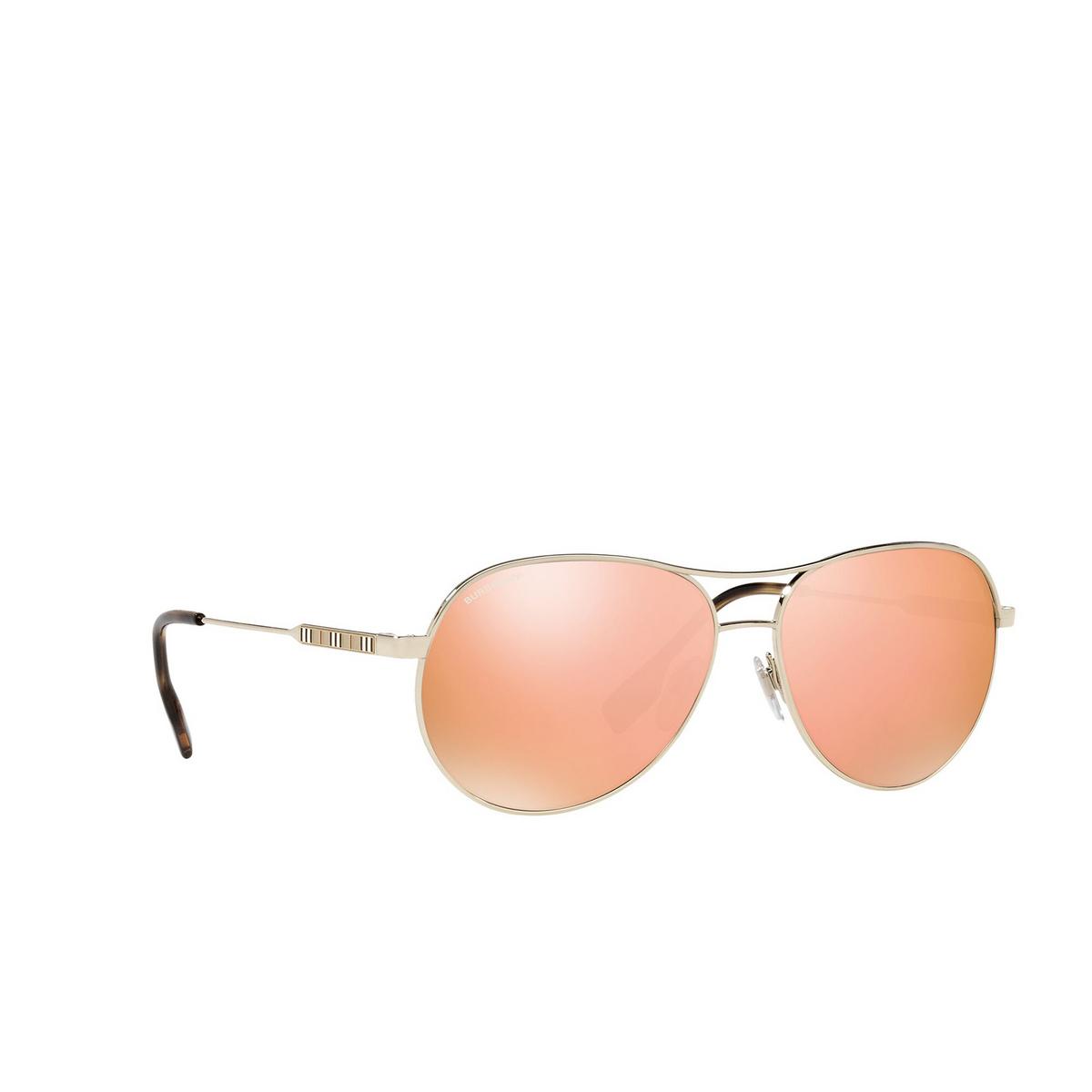 Burberry® Aviator Sunglasses: Tara BE3122 color Light Gold 11097J - three-quarters view.