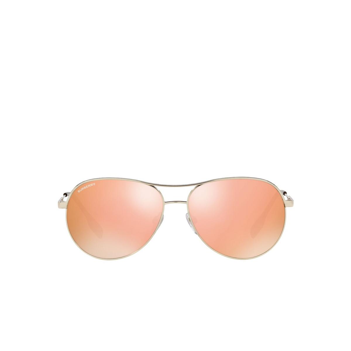 Burberry® Aviator Sunglasses: Tara BE3122 color Light Gold 11097J - front view.