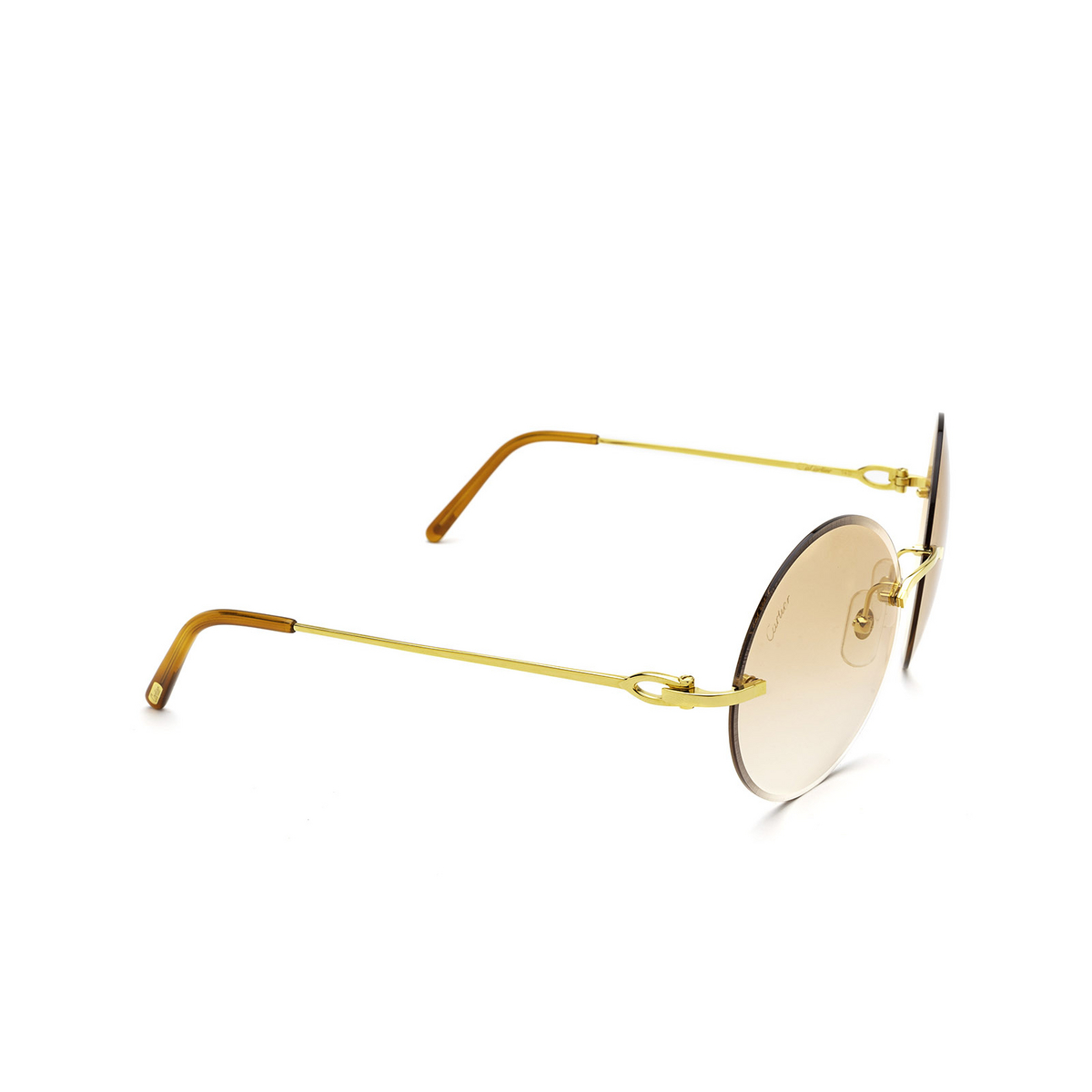 Cartier® Round Sunglasses: CT0002RS color Gold 001 - three-quarters view.