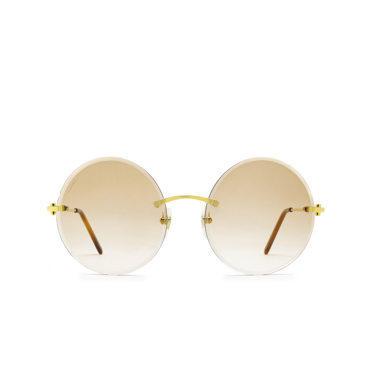 Cartier® Round Sunglasses: CT0002RS color Gold 001 - front view.